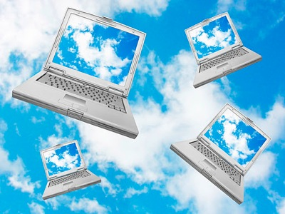 Cloud computers in sky